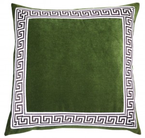 Green Greek Key Pillow