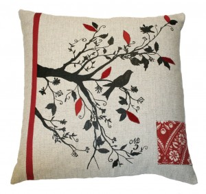 Silk Screen Bird on Tree Pillow with Red