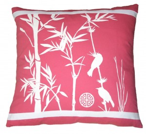 Pink Bird Tropical Pillow on branch with leaves