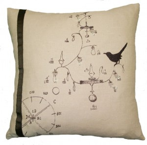 Silk Screen Bird Chandelier Pillow
