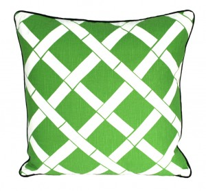 Green lattice pillow bamboo