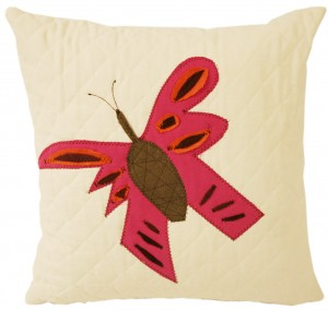 Pink red butterfly pillow baby nursery