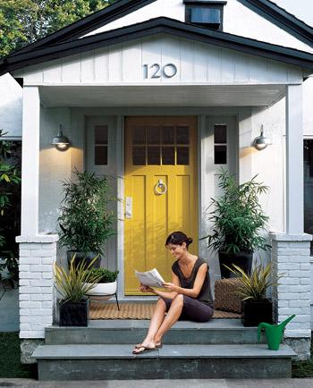 Surprising Gray House Yellow Front Door Contemporary - Exterior ...