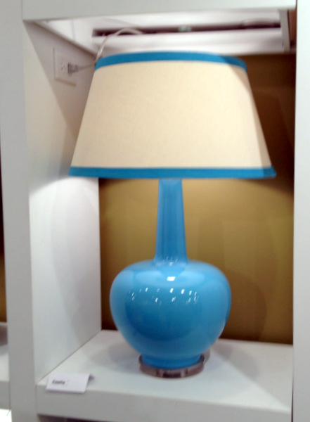 Peacock Blue Ceramic Lamp with matching Trim