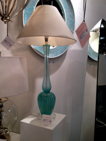 Turquoise Glass Buffet Lamp