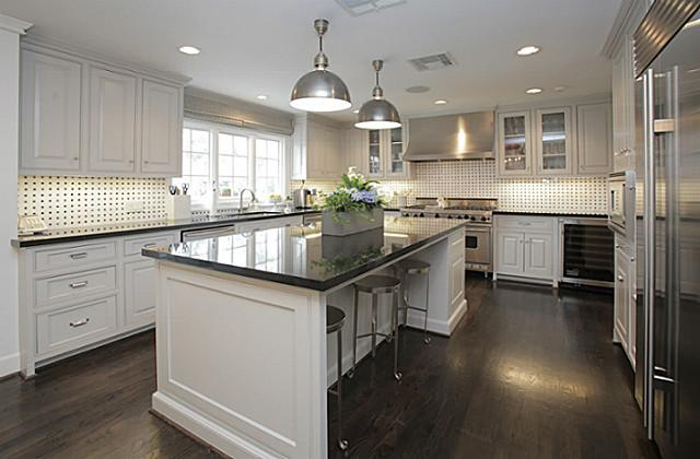 Black and White Kitchen Basketweave Backsplash