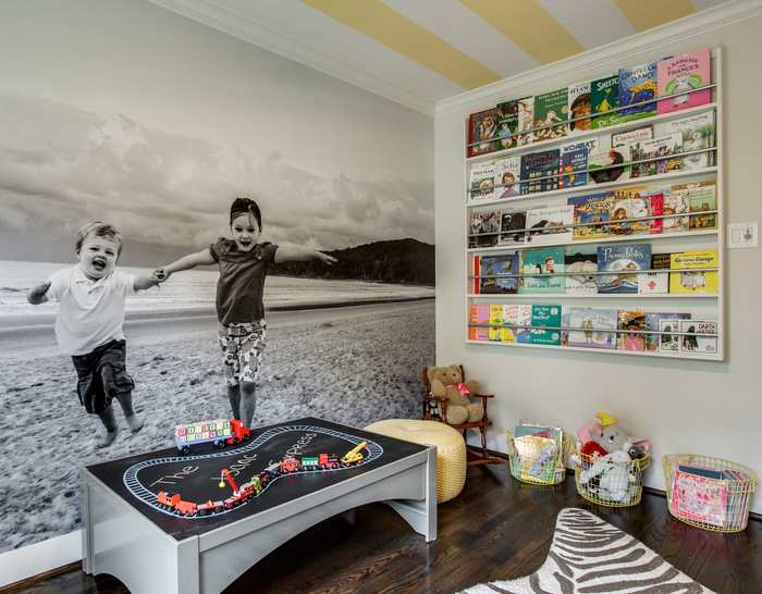 Maddie G Designs Playroom Custom Book Wall,  Wallpaper and lacquered train table