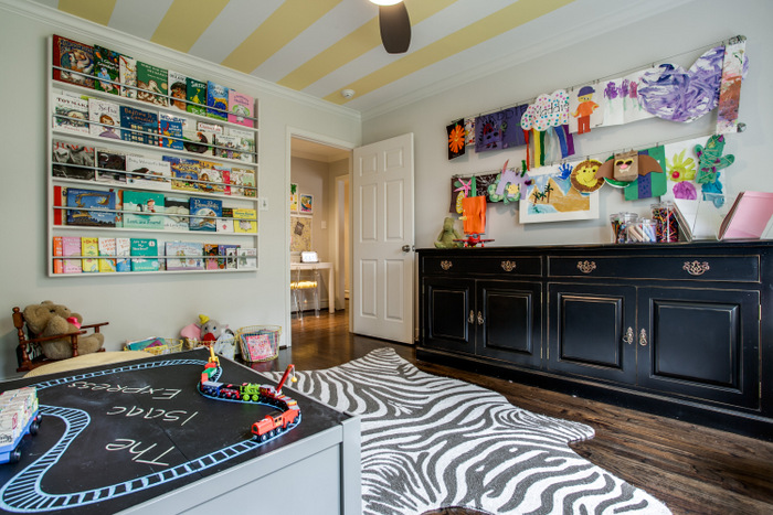 Maddie G Designs Playroom Custom Book Wall and Kids Art Display