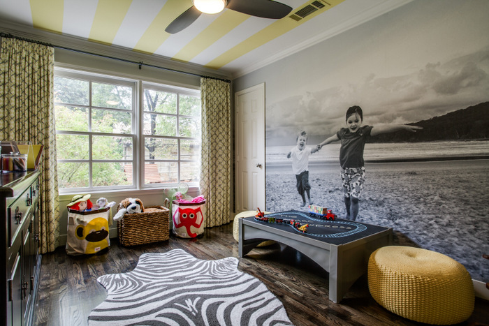 Maddie G Designs Playroom with Custom Wallpaper