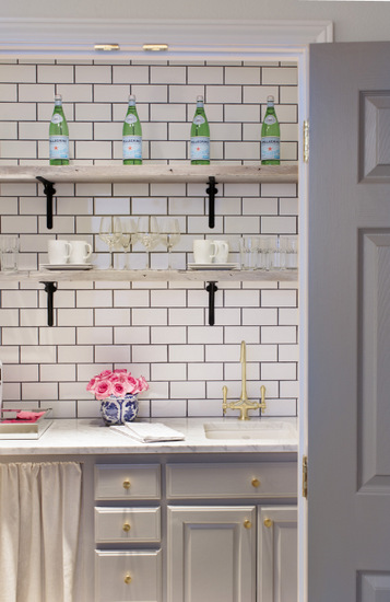 Maddie G Designs, Shop Maddie G Office Kitchette with Dark Grout Subway Tile  and Reclaimed